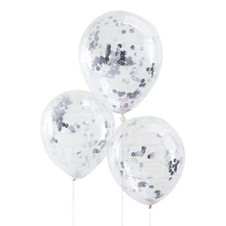 Ginger Ray for Paperchase silver confetti-filled balloons main image