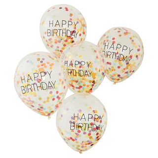 Ginger Ray for Paperchase confetti birthday balloons - pack of 5 main image