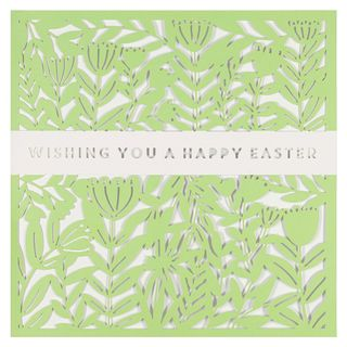 Laser cut green floral happy Easter card main image