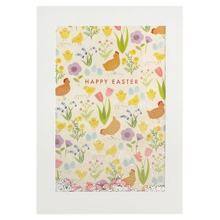 Large chickens confetti Easter card main image