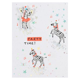 Party time zebras birthday card  main image