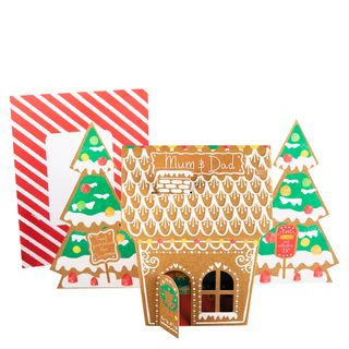 Mum and dad gingerbread house Christmas card main image