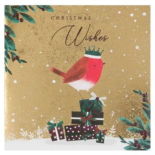 Gold foil robin Christmas cards - pack of 6 main image