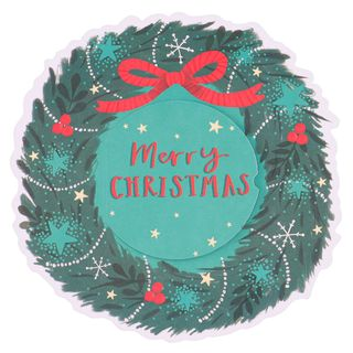 Christmas wreath with robin Christmas cards - pack of 6 main image