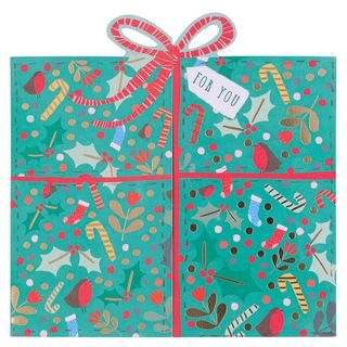 Fold out present Christmas cards - pack of 6 main image
