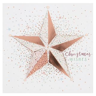 Fold out gold star Christmas card main image