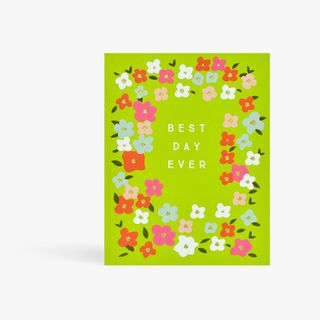 Green floral best day ever card main image