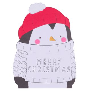Colour in penguin Christmas card main image