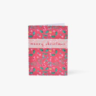Merry Christmas Red Floral Seed Card main image