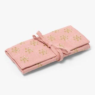 Pink embroidered jewellery roll  main image
