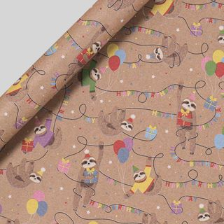Sloth Birthday Wrapping Paper - 3m main image