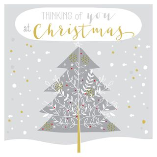 Silver tree thinking of you Christmas card main image