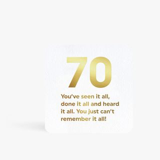 Quotish can't remember 70th birthday card main image