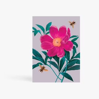 Pink Flower With Bees Card  main image
