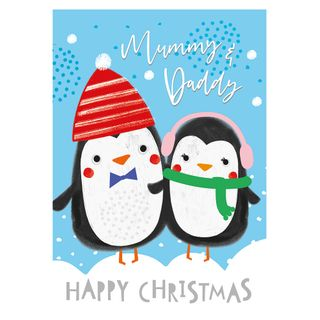 Mummy and daddy penguins Christmas card main image
