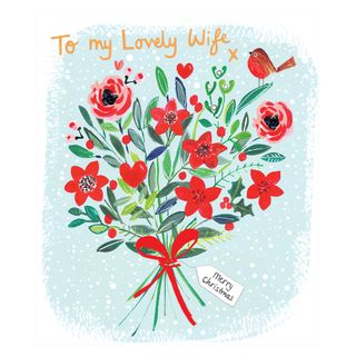 Lovely wife bouquet Christmas card main image