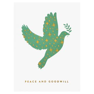 Peace and goodwill dove Christmas card main image