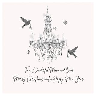 Mum and dad chandelier birds Christmas card main image