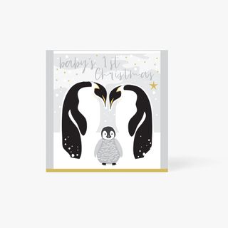 Baby's 1st Christmas Penguins Card  main image