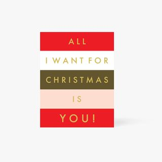 All I Want For Christmas Striped Card  main image
