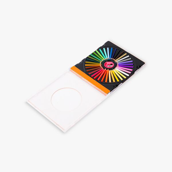 Mini colouring pencils in CD case - pack of 36