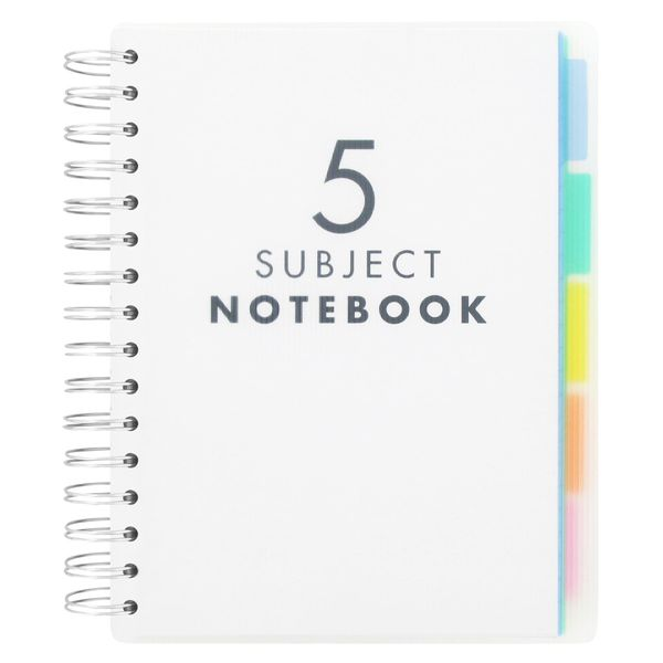 A5 5 subject lined notebook