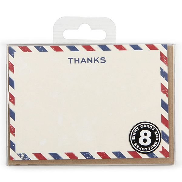 Airmail thanks notecards - pack of 8