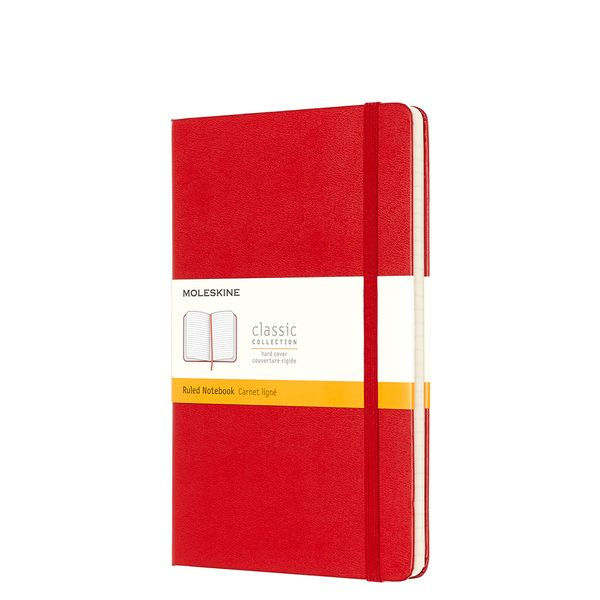 Moleskine large ruled hard back notebook