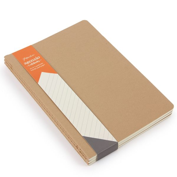 Agenzio A5 cahier brown notebooks - 3 pack