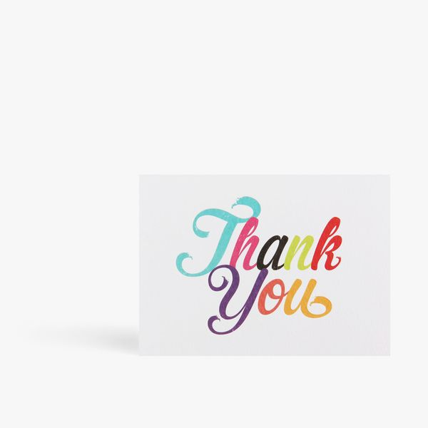 Multicolour thank you letterpress notecards - pack of 10