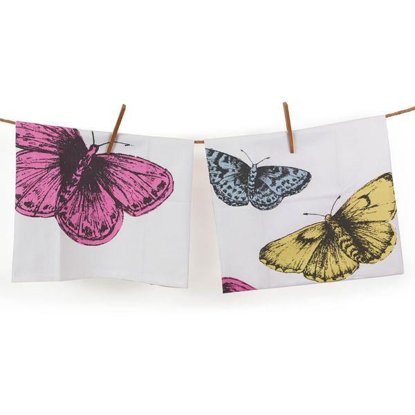 Butterflies set of 2 cotton tea towels