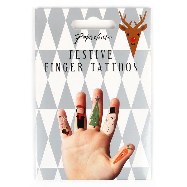 Christmas finger tattoos