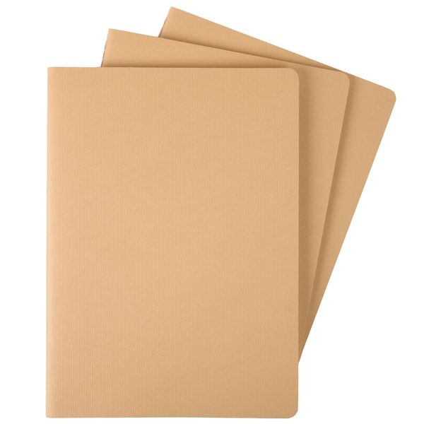 Agenzio cahier large plain brown notebook - 3 pack