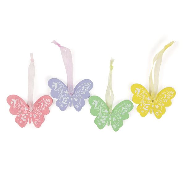 Wooden butterfly decorations - set of 12