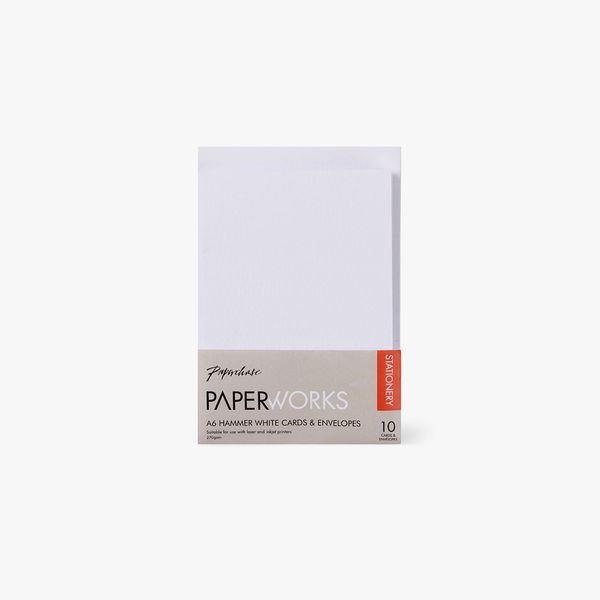 Paperworks hammer white A6 cards and envelopes - pack of 10