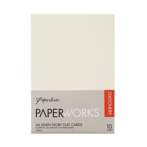 Paperworks linen ivory A6 flat cards - pack of 10