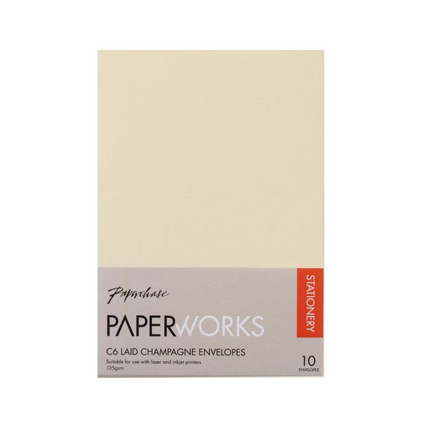 Paperworks laid champagne C6 envelopes - pack of 10