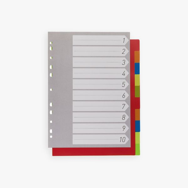 10-Part A4 Multicoloured Subject Dividers