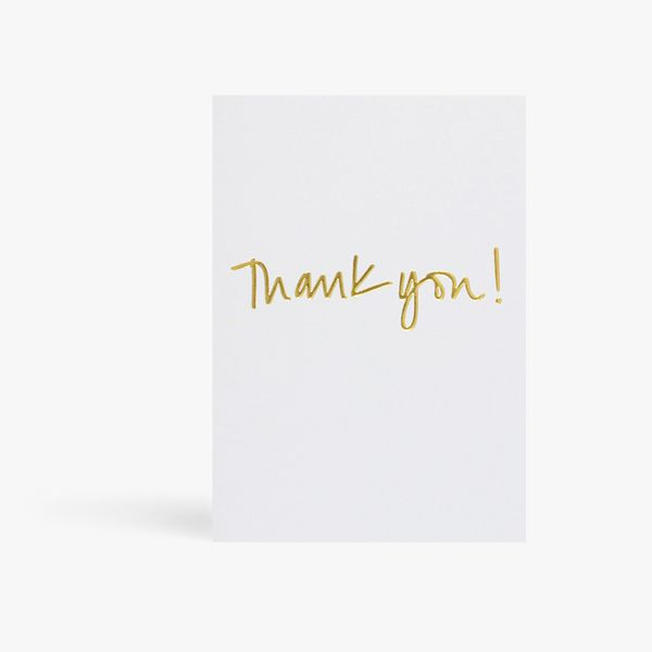 Thank you gold foil on grey card