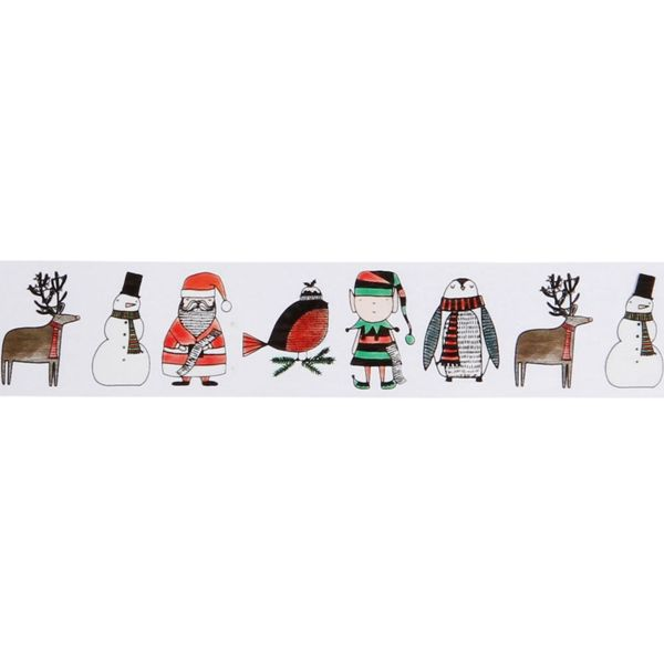 Hand-drawn characters Christmas gift tape - 50m