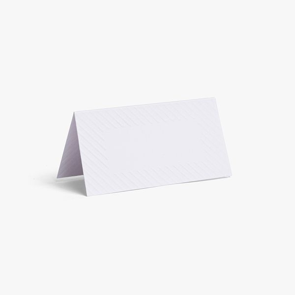 White Embossed Place Cards