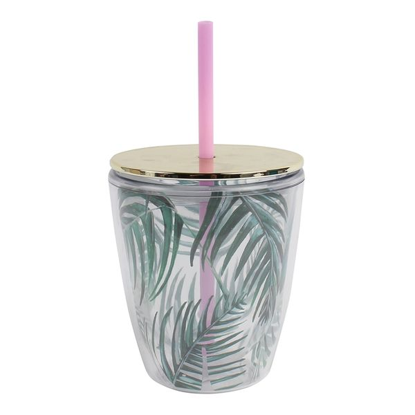 Palm print cup with straw