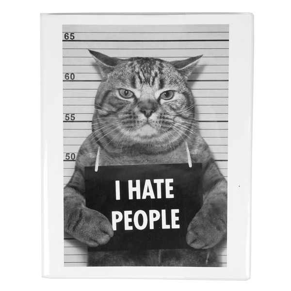 I hate people 8x10 cat lined notebook