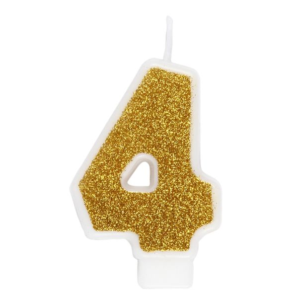 Gold number 4 birthday candle