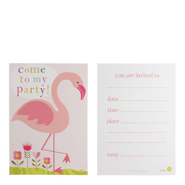Flamingo party invitations- pack of 10