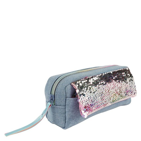 Sequin denim multi pencil case