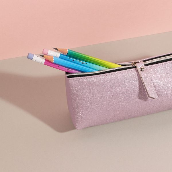 Simple pink triangle pencil case
