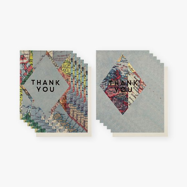 Maps foil thank you cards - pack of 12