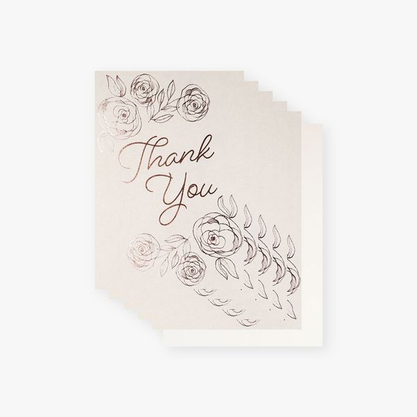 Grey rose foil floral thank you cards - pack of 10