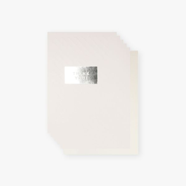 Embossed silver thank you cards - pack of 10